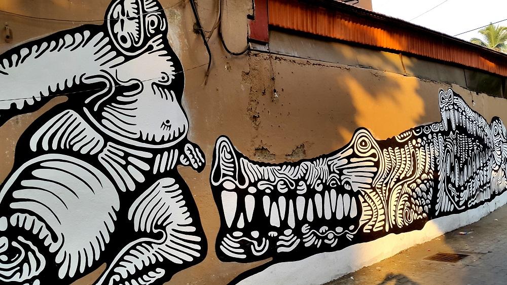 wall painting Pali Village Bandra 1 & Wall art Bandra Mumbai | playing with memories